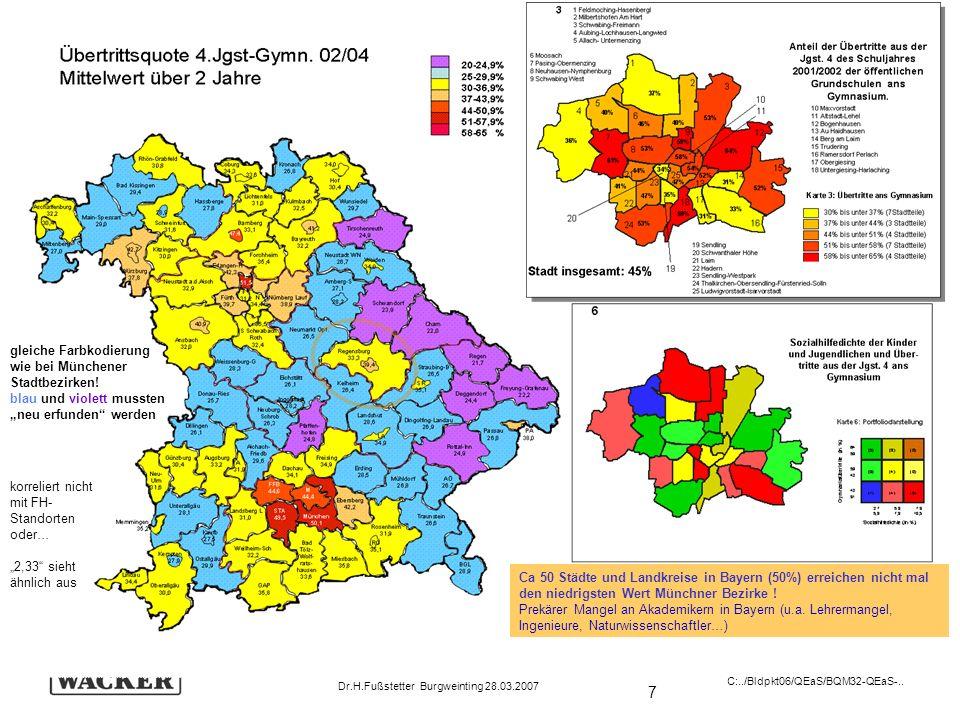 7 Schulevaluation wozu? Dr.H.Fußstetter Burgweinting 28.03.2007 C:../Bldpkt06/QEaS/BQM32-QEaS-.. gleiche Farbkodierung wie bei Münchener Stadtbezirken