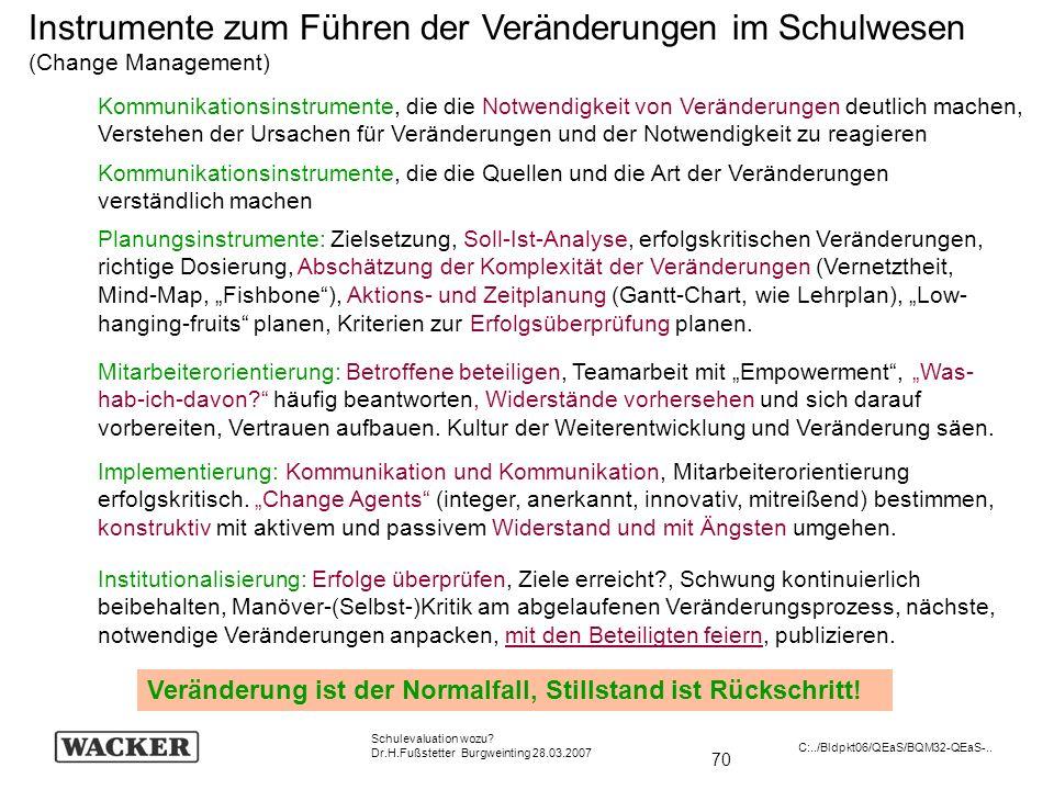 70 Schulevaluation wozu? Dr.H.Fußstetter Burgweinting 28.03.2007 C:../Bldpkt06/QEaS/BQM32-QEaS-.. Instrumente zum Führen der Veränderungen im Schulwes