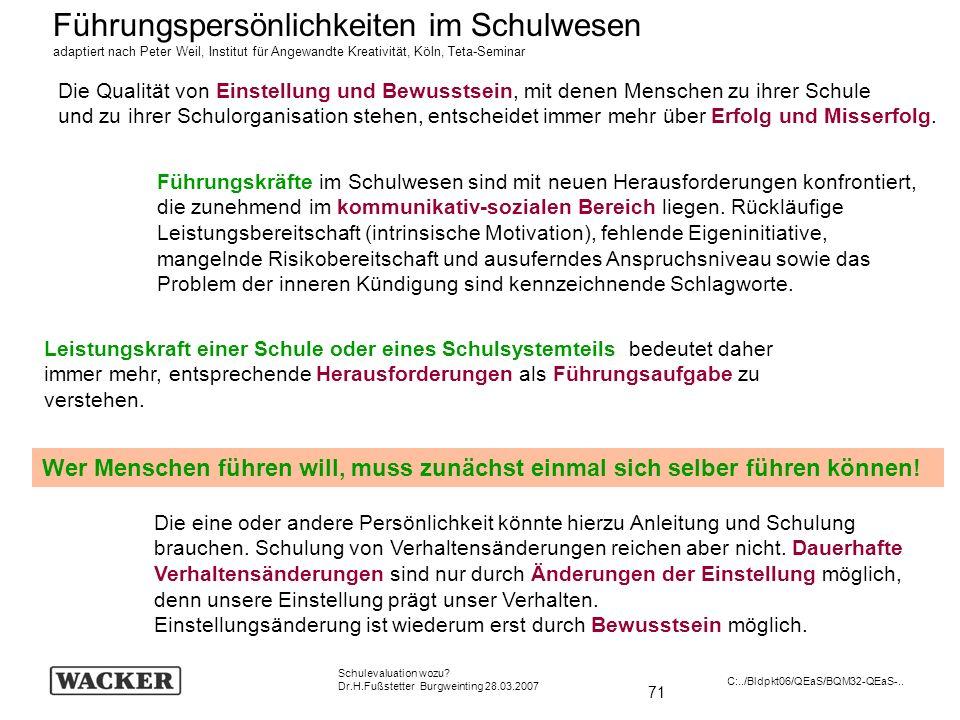 71 Schulevaluation wozu? Dr.H.Fußstetter Burgweinting 28.03.2007 C:../Bldpkt06/QEaS/BQM32-QEaS-.. Führungspersönlichkeiten im Schulwesen adaptiert nac