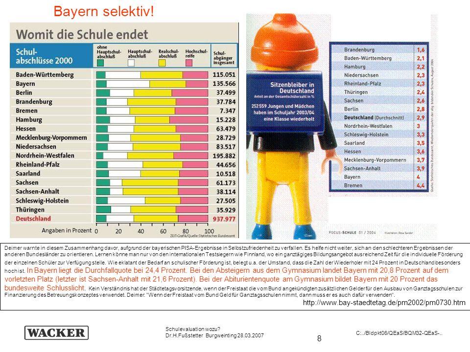 8 Schulevaluation wozu? Dr.H.Fußstetter Burgweinting 28.03.2007 C:../Bldpkt06/QEaS/BQM32-QEaS-.. Bayern selektiv! Deimer warnte in diesem Zusammenhang