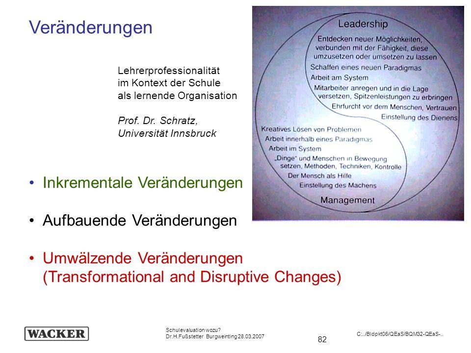 82 Schulevaluation wozu? Dr.H.Fußstetter Burgweinting 28.03.2007 C:../Bldpkt06/QEaS/BQM32-QEaS-.. Veränderungen Inkrementale Veränderungen Aufbauende