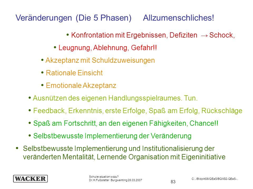 83 Schulevaluation wozu? Dr.H.Fußstetter Burgweinting 28.03.2007 C:../Bldpkt06/QEaS/BQM32-QEaS-.. Veränderungen (Die 5 Phasen) Allzumenschliches! Konf