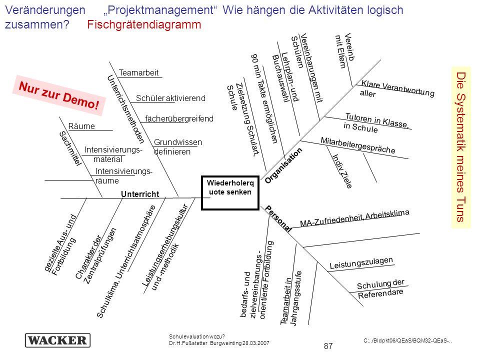 87 Schulevaluation wozu? Dr.H.Fußstetter Burgweinting 28.03.2007 C:../Bldpkt06/QEaS/BQM32-QEaS-.. Veränderungen Projektmanagement Wie hängen die Aktiv