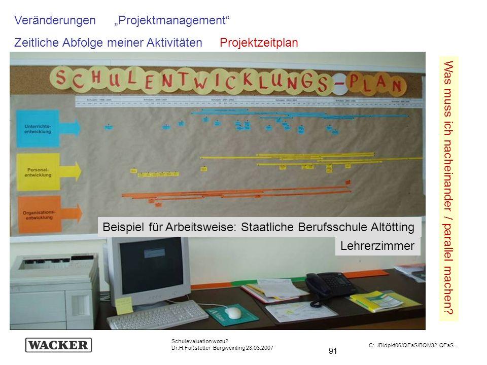 91 Schulevaluation wozu? Dr.H.Fußstetter Burgweinting 28.03.2007 C:../Bldpkt06/QEaS/BQM32-QEaS-.. Was muss ich nacheinander / parallel machen? Verände