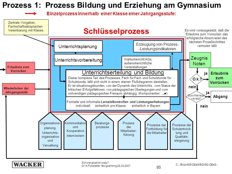 95 Schulevaluation wozu? Dr.H.Fußstetter Burgweinting 28.03.2007 C:../Bldpkt06/QEaS/BQM32-QEaS-.. Wiederholen der Jahrgangsstufe Prozess 1: Prozess Bi