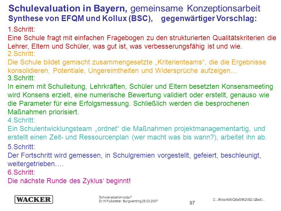 97 Schulevaluation wozu? Dr.H.Fußstetter Burgweinting 28.03.2007 C:../Bldpkt06/QEaS/BQM32-QEaS-.. Schulevaluation in Bayern, gemeinsame Konzeptionsarb