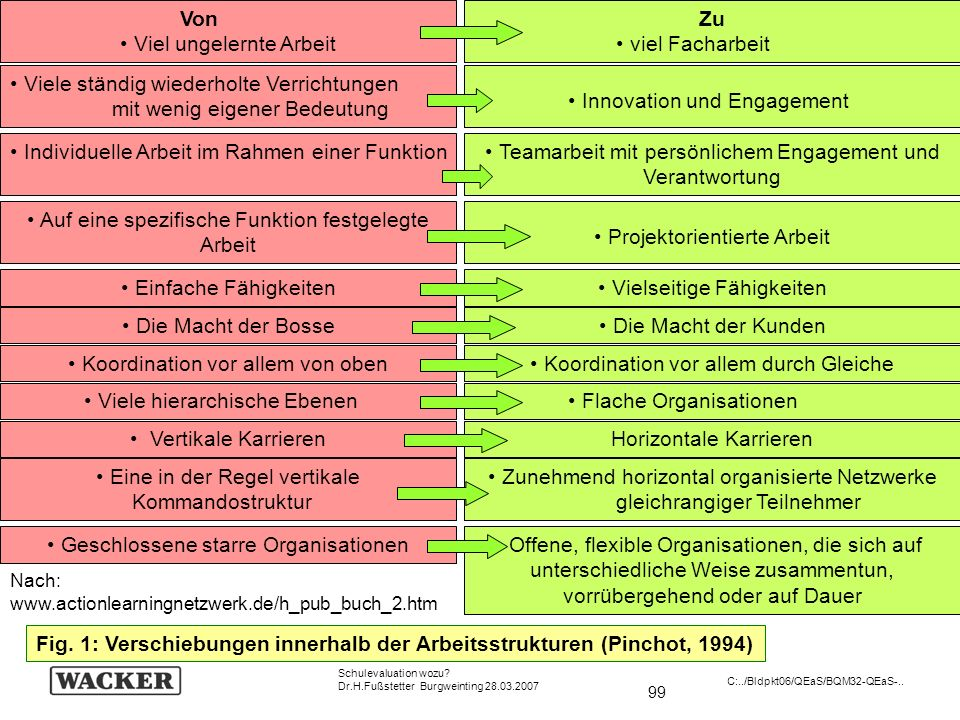 99 Schulevaluation wozu? Dr.H.Fußstetter Burgweinting 28.03.2007 C:../Bldpkt06/QEaS/BQM32-QEaS-.. www.actionlearningnetzwerk.de/h_pub_buch_2.htm Nach: