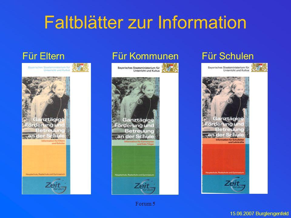 15.06.2007 Burglengenfeld Forum 5 Faltblätter zur Information Für ElternFür SchulenFür Kommunen