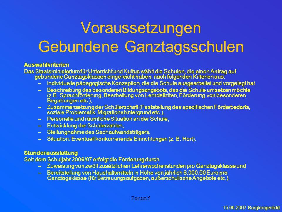 15.06.2007 Burglengenfeld Forum 5 Voraussetzungen Gebundene Ganztagsschulen Auswahlkriterien Das Staatsministerium für Unterricht und Kultus wählt die