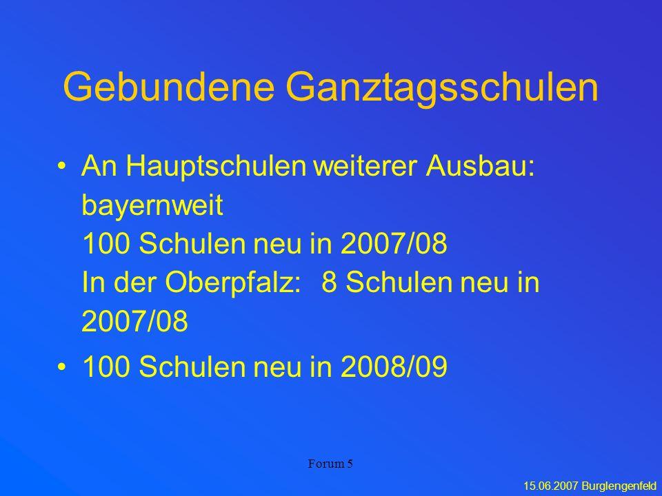 15.06.2007 Burglengenfeld Forum 5 Gebundene Ganztagsschulen An Hauptschulen weiterer Ausbau: bayernweit 100 Schulen neu in 2007/08 In der Oberpfalz:8