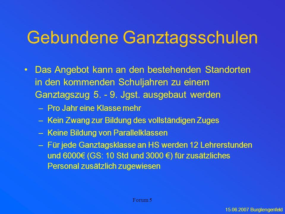 15.06.2007 Burglengenfeld Forum 5 Gebundene Ganztagsschulen Das Angebot kann an den bestehenden Standorten in den kommenden Schuljahren zu einem Ganzt