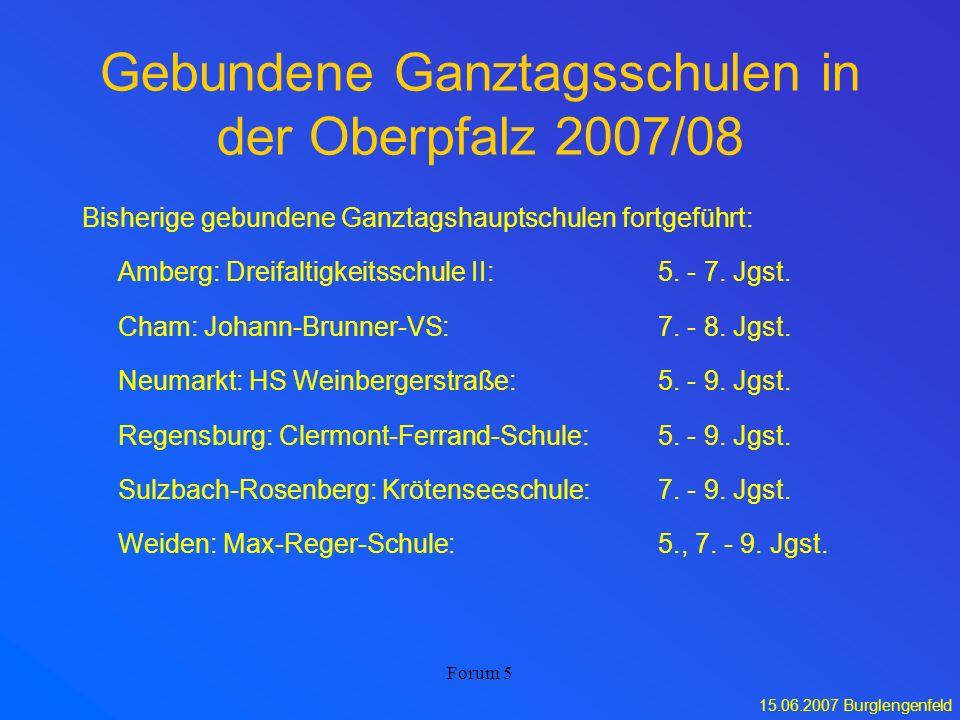 15.06.2007 Burglengenfeld Forum 5 Gebundene Ganztagsschulen in der Oberpfalz 2007/08 Bisherige gebundene Ganztagshauptschulen fortgeführt: Amberg: Dre