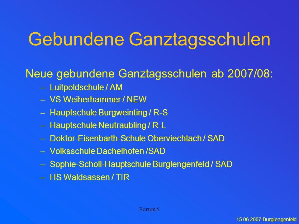 15.06.2007 Burglengenfeld Forum 5 Gebundene Ganztagsschulen Neue gebundene Ganztagsschulen ab 2007/08: –Luitpoldschule / AM –VS Weiherhammer / NEW –Ha