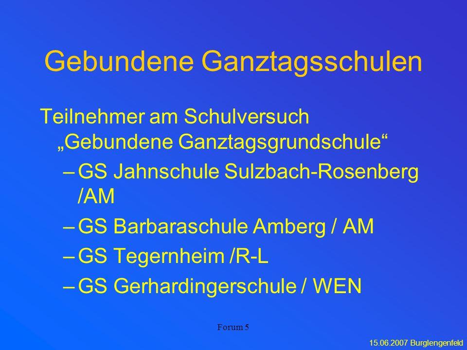 15.06.2007 Burglengenfeld Forum 5 Gebundene Ganztagsschulen Teilnehmer am Schulversuch Gebundene Ganztagsgrundschule –GS Jahnschule Sulzbach-Rosenberg