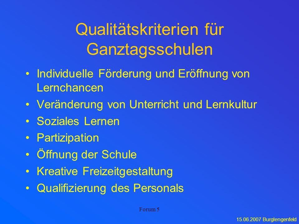 15.06.2007 Burglengenfeld Forum 5 Qualitätskriterien für Ganztagsschulen Individuelle Förderung und Eröffnung von Lernchancen Veränderung von Unterric