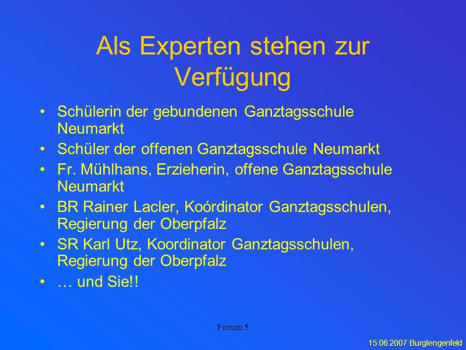 15.06.2007 Burglengenfeld Forum 5 Als Experten stehen zur Verfügung Schülerin der gebundenen Ganztagsschule Neumarkt Schüler der offenen Ganztagsschul