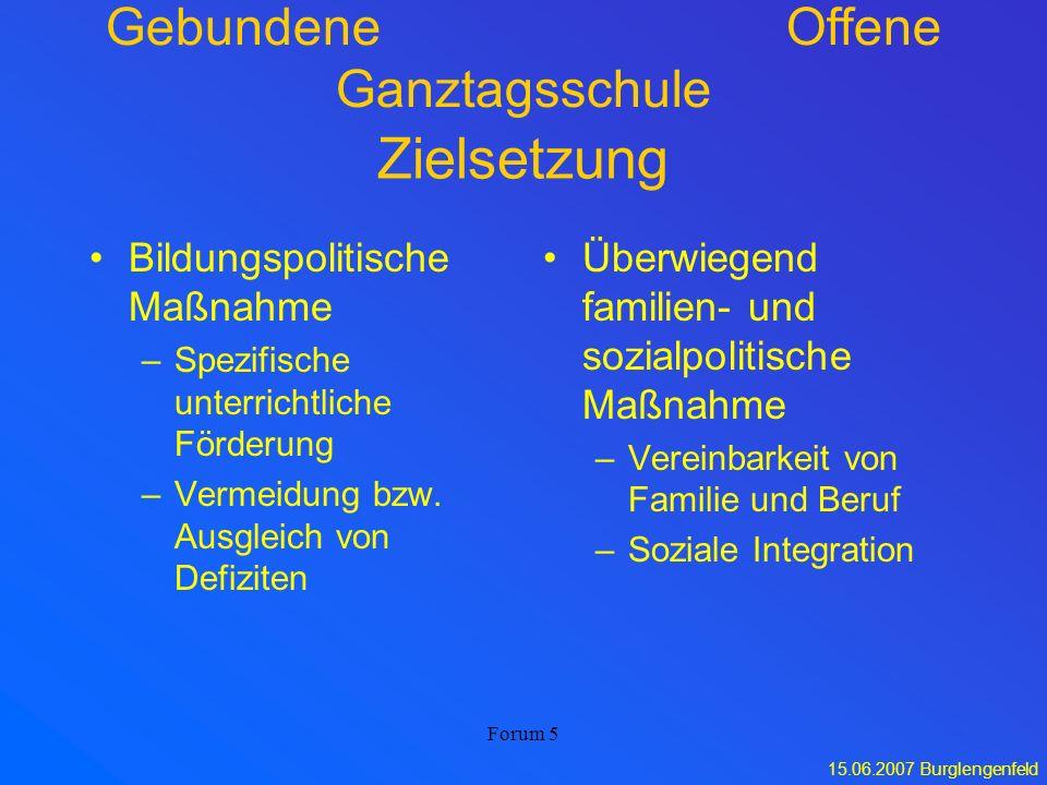 15.06.2007 Burglengenfeld Forum 5 Zielsetzung Bildungspolitische Maßnahme –Spezifische unterrichtliche Förderung –Vermeidung bzw. Ausgleich von Defizi