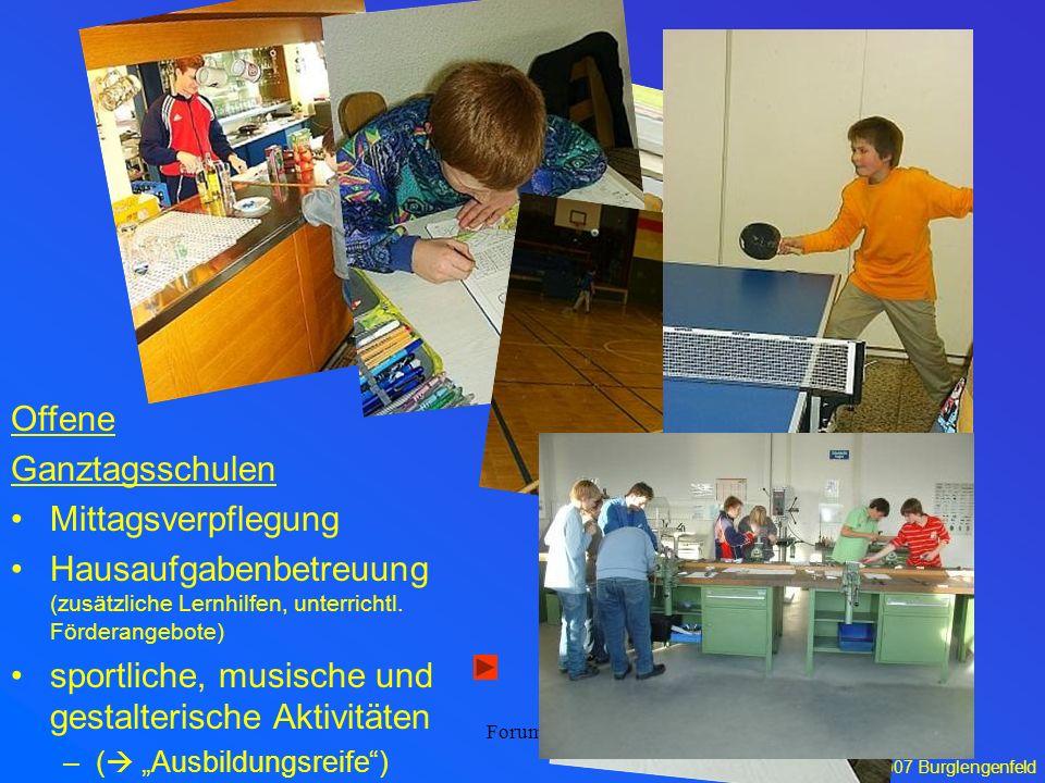 15.06.2007 Burglengenfeld Forum 5 Offene Ganztagsschulen Mittagsverpflegung Hausaufgabenbetreuung (zusätzliche Lernhilfen, unterrichtl. Förderangebote