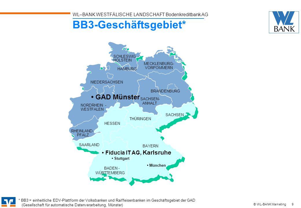 WL–BANK WESTFÄLISCHE LANDSCHAFT Bodenkreditbank AG 9 © WL-BANK Marketing BB3-Geschäftsgebiet* NORDRHEIN - WESTFALEN RHEINLAND- PFALZ NIEDERSACHSEN SCH