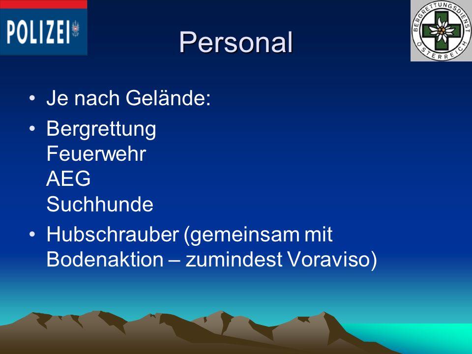 Personal Je nach Gelände: Bergrettung Feuerwehr AEG Suchhunde Hubschrauber (gemeinsam mit Bodenaktion – zumindest Voraviso)