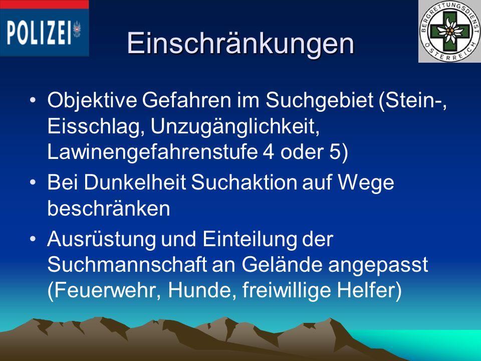 Einschränkungen Objektive Gefahren im Suchgebiet (Stein-, Eisschlag, Unzugänglichkeit, Lawinengefahrenstufe 4 oder 5) Bei Dunkelheit Suchaktion auf We