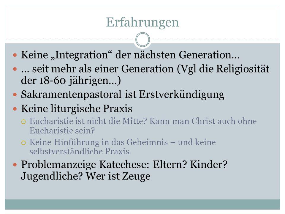 Erfahrungen Keine Integration der nächsten Generation… … seit mehr als einer Generation (Vgl die Religiosität der 18-60 jährigen…) Sakramentenpastoral