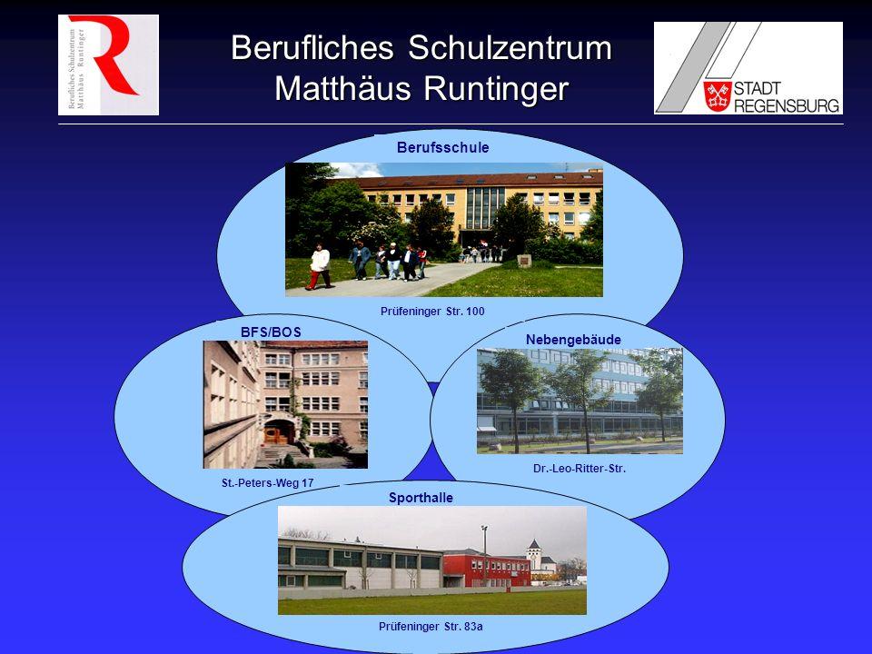 Berufliches Schulzentrum Matthäus Runtinger Berufsschule Prüfeninger Str. 100 BFS/BOS St.-Peters-Weg 17 Nebengebäude Dr.-Leo-Ritter-Str. Sporthalle Pr