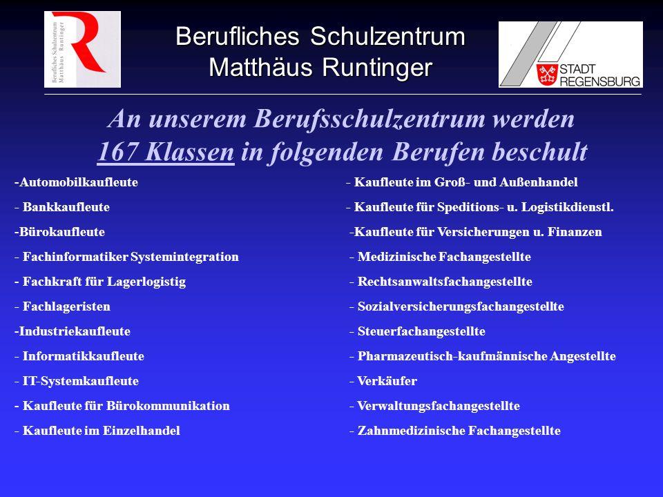 Berufliches Schulzentrum Matthäus Runtinger An unserem Berufsschulzentrum werden 167 Klassen in folgenden Berufen beschult -Automobilkaufleute- Kaufle