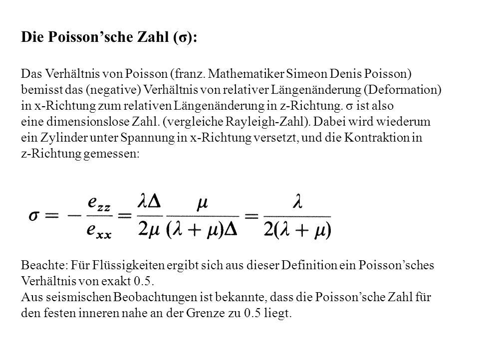 Die Poissonsche Zahl (σ): Das Verhältnis von Poisson (franz. Mathematiker Simeon Denis Poisson) bemisst das (negative) Verhältnis von relativer Längen