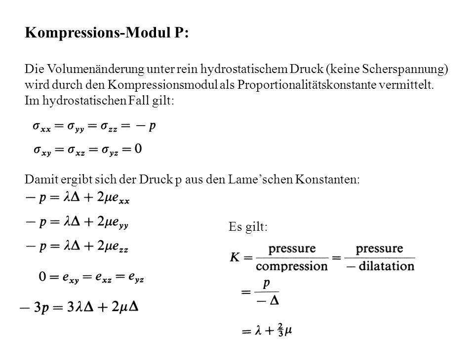 Kompressions-Modul P: Die Volumenänderung unter rein hydrostatischem Druck (keine Scherspannung) wird durch den Kompressionsmodul als Proportionalität