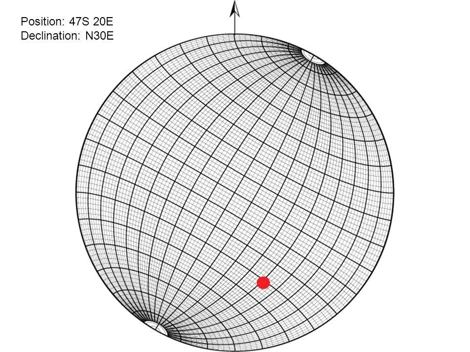 Position: 47S 20E Declination: N30E