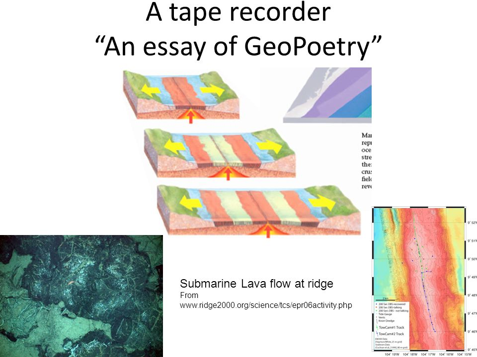 A tape recorder An essay of GeoPoetry Submarine Lava flow at ridge From www.ridge2000.org/science/tcs/epr06activity.php