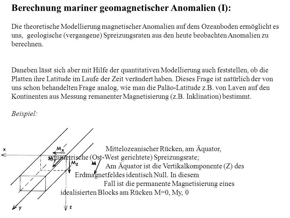 Berechnung mariner geomagnetischer Anomalien (I): Die theoretische Modellierung magnetischer Anomalien auf dem Ozeanboden ermöglicht es uns, geologisc
