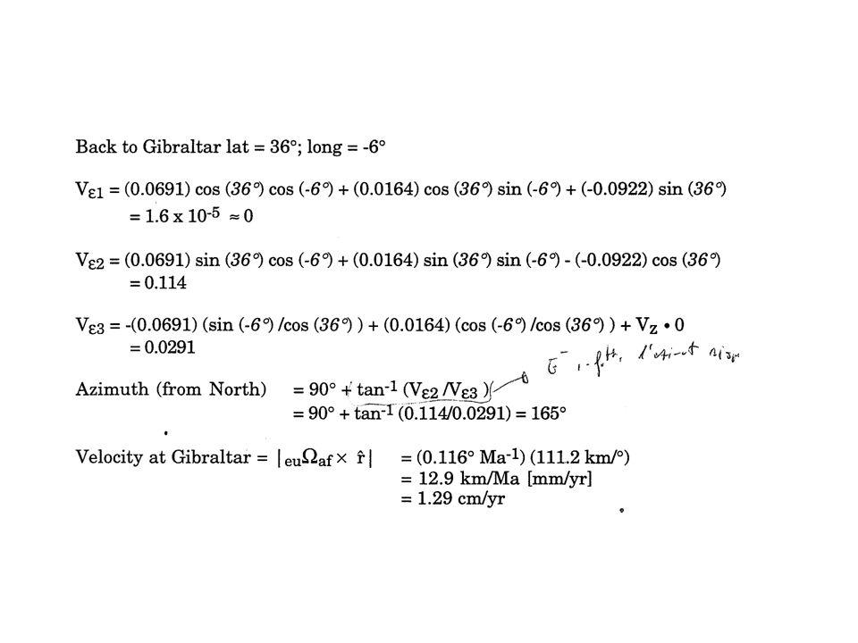 Vn = n ·(Ω x r) = (r x n) ·Ω Ve = e ·(Ω x r) = (r x e) ·Ω (r x n) x (r x n) y (r x n) z Ωx Vn (r x e) x (r x e) y (r x e) z Ωy Ve Ωz Invert for Ω that minimizes residual (V computed - V observed ) Inverting for the plates Euler pole Rigid plate rotation: V = Ω x r V·n = Vn V·e = Ve · =