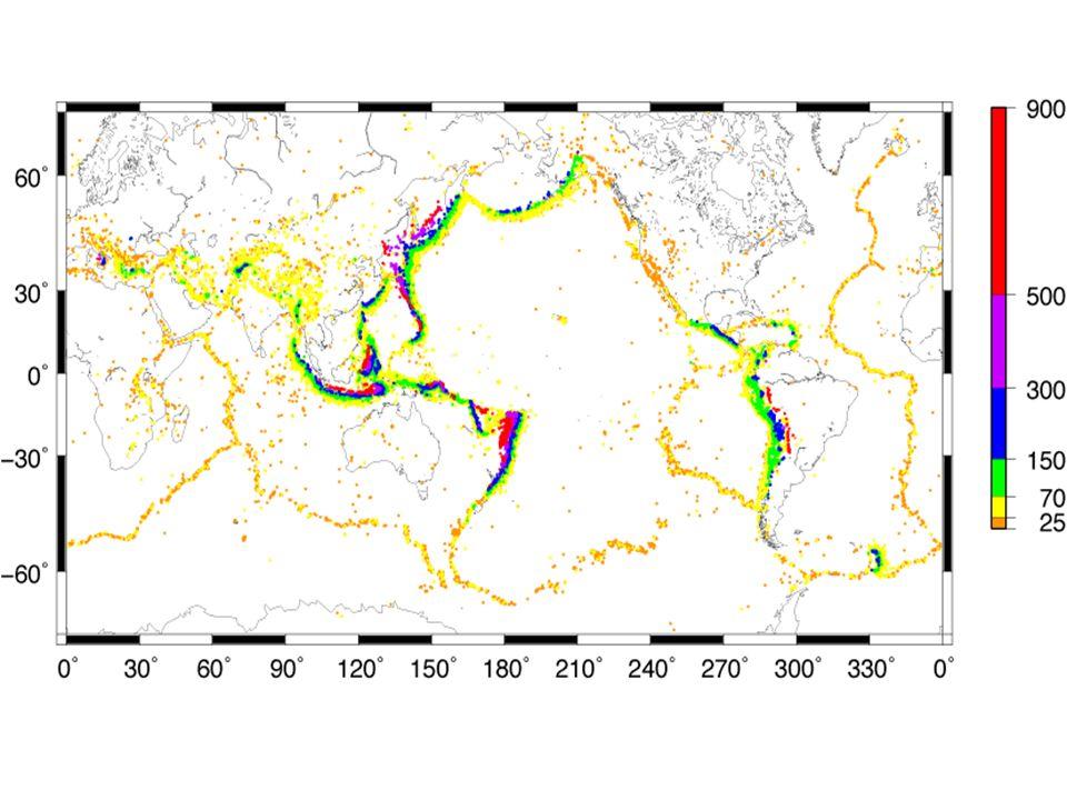 QUELLMECHANISMEN Beispiel: Quellmechanismen und Tektonik Subduktion, Aufschiebung, Nord Amerika über Pazifik Seitenverschiebung