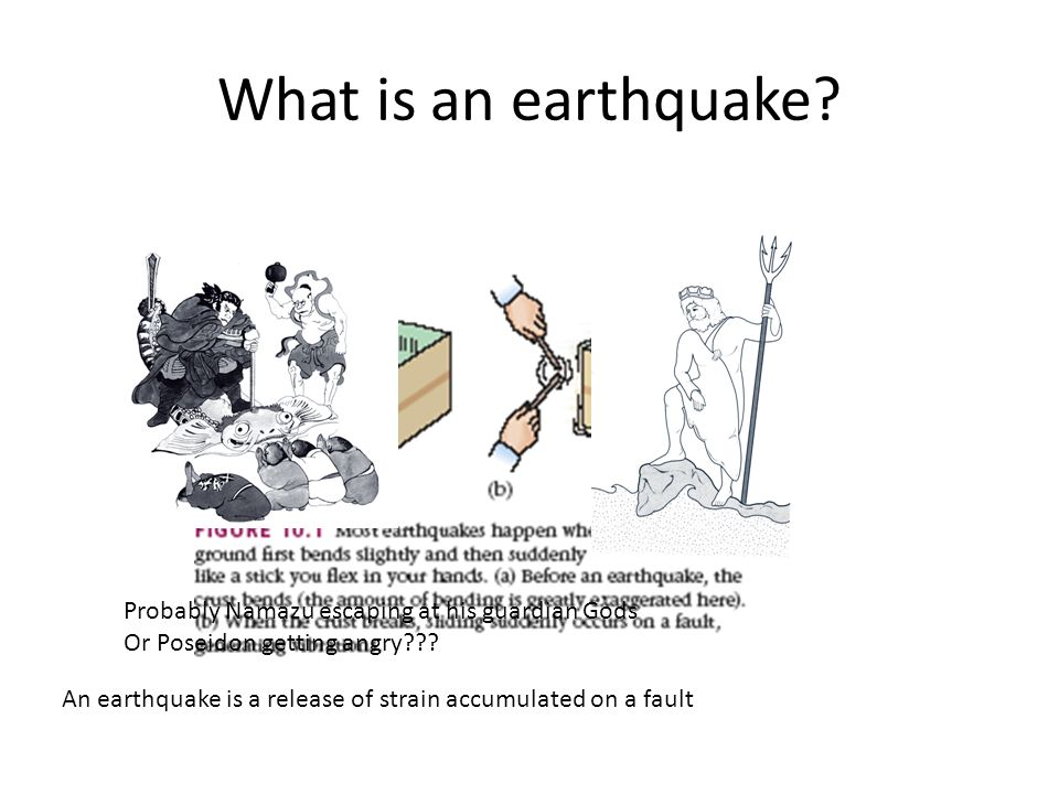 What is an earthquake.Probably Namazu escaping at his guardian Gods Or Poseidon getting angry??.