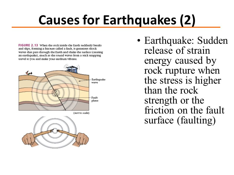 Earthquake: Sudden release of strain energy caused by rock rupture when the stress is higher than the rock strength or the friction on the fault surface (faulting) Causes for Earthquakes (2)