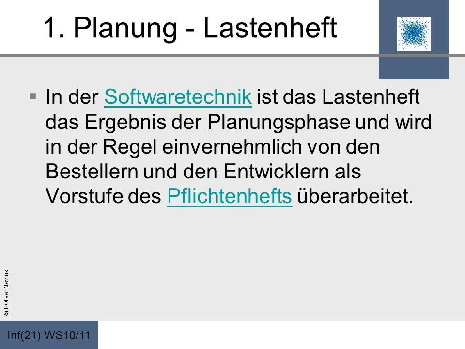 Inf(21) WS10/11 Ralf-Oliver Mevius 1. Planung - Lastenheft In der Softwaretechnik ist das Lastenheft das Ergebnis der Planungsphase und wird in der Re