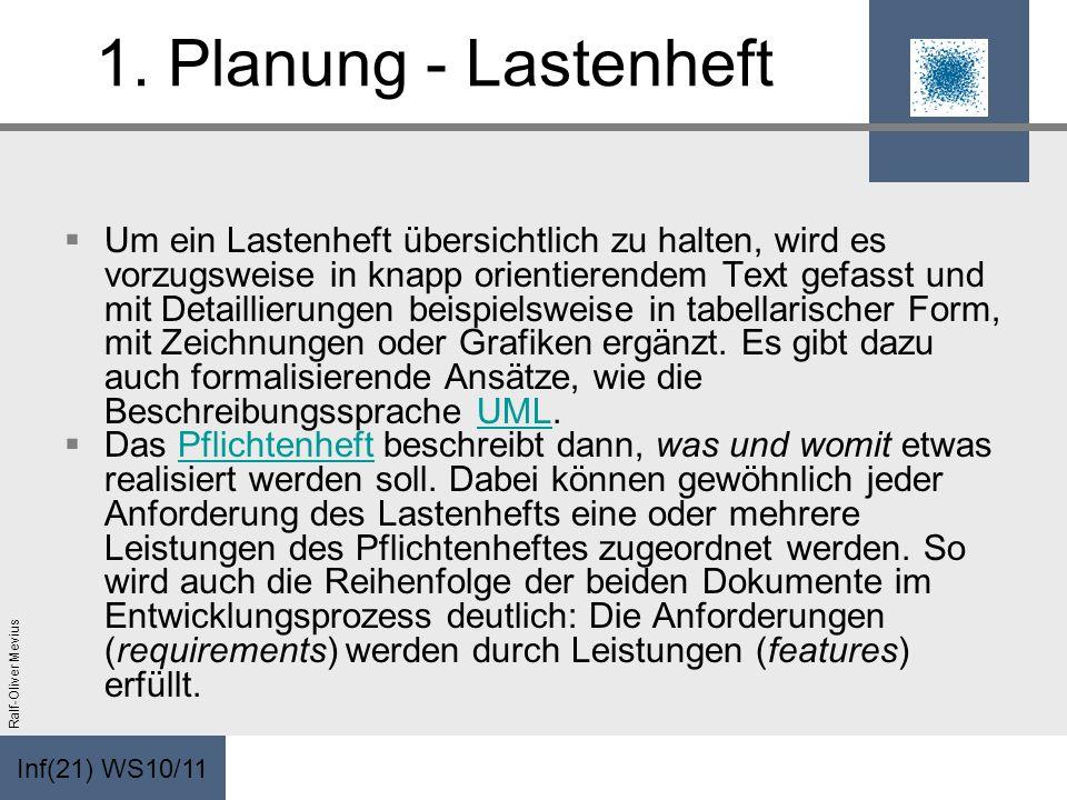 Inf(21) WS10/11 Ralf-Oliver Mevius 1. Planung - Lastenheft Um ein Lastenheft übersichtlich zu halten, wird es vorzugsweise in knapp orientierendem Tex