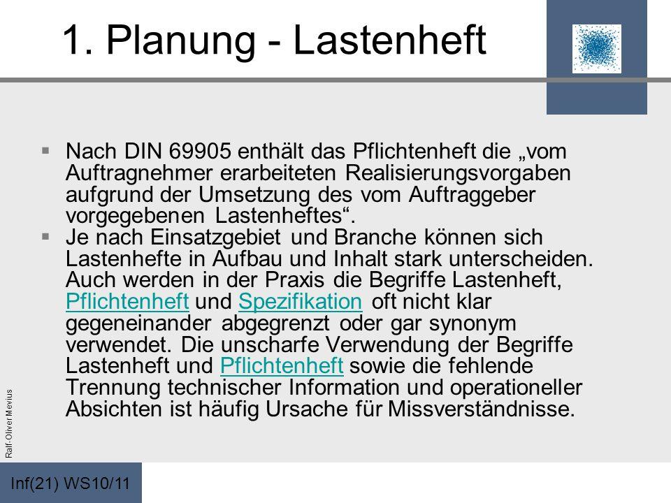 Inf(21) WS10/11 Ralf-Oliver Mevius 1. Planung - Lastenheft Nach DIN 69905 enthält das Pflichtenheft die vom Auftragnehmer erarbeiteten Realisierungsvo