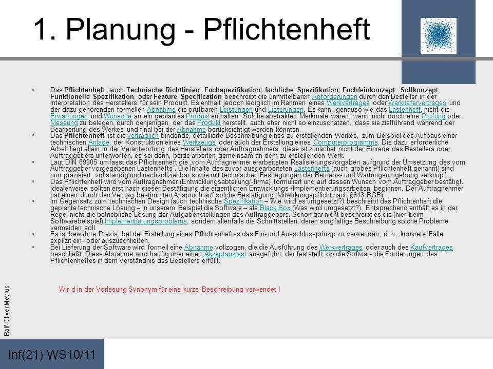 Inf(21) WS10/11 Ralf-Oliver Mevius 1. Planung - Pflichtenheft Das Pflichtenheft, auch Technische Richtlinien, Fachspezifikation, fachliche Spezifikati