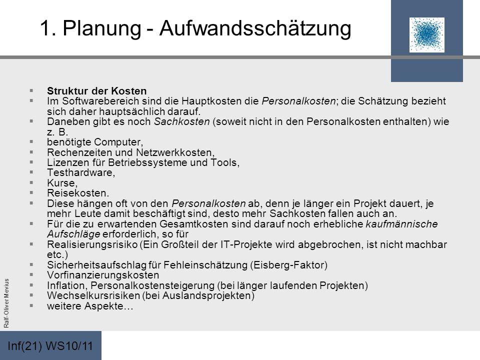 Inf(21) WS10/11 Ralf-Oliver Mevius 1. Planung - Aufwandsschätzung Struktur der Kosten Im Softwarebereich sind die Hauptkosten die Personalkosten; die