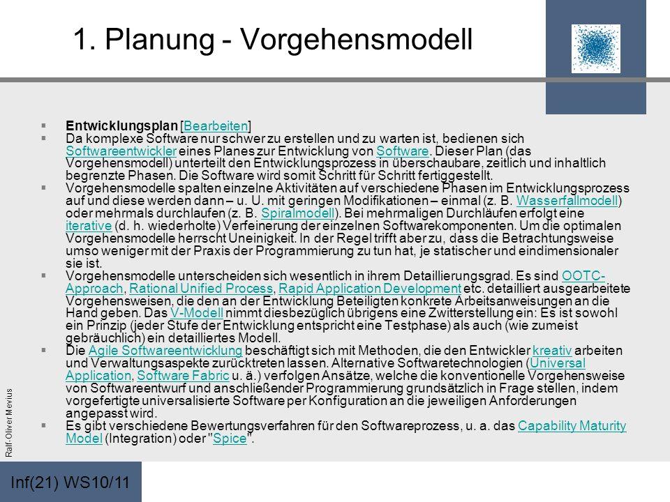 Inf(21) WS10/11 Ralf-Oliver Mevius 1. Planung - Vorgehensmodell Entwicklungsplan [Bearbeiten]Bearbeiten Da komplexe Software nur schwer zu erstellen u