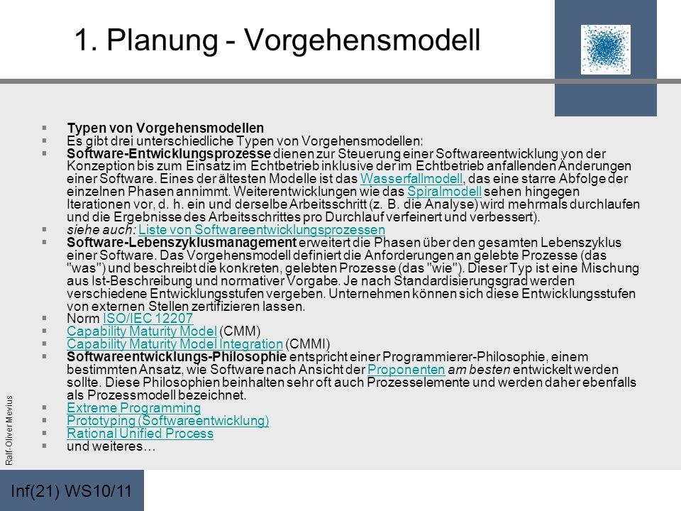 Inf(21) WS10/11 Ralf-Oliver Mevius 1. Planung - Vorgehensmodell Typen von Vorgehensmodellen Es gibt drei unterschiedliche Typen von Vorgehensmodellen: