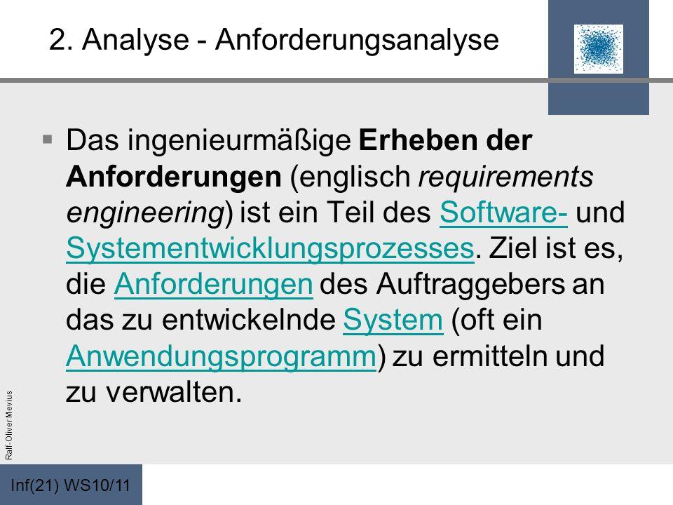 Inf(21) WS10/11 Ralf-Oliver Mevius 2. Analyse - Anforderungsanalyse Das ingenieurmäßige Erheben der Anforderungen (englisch requirements engineering)
