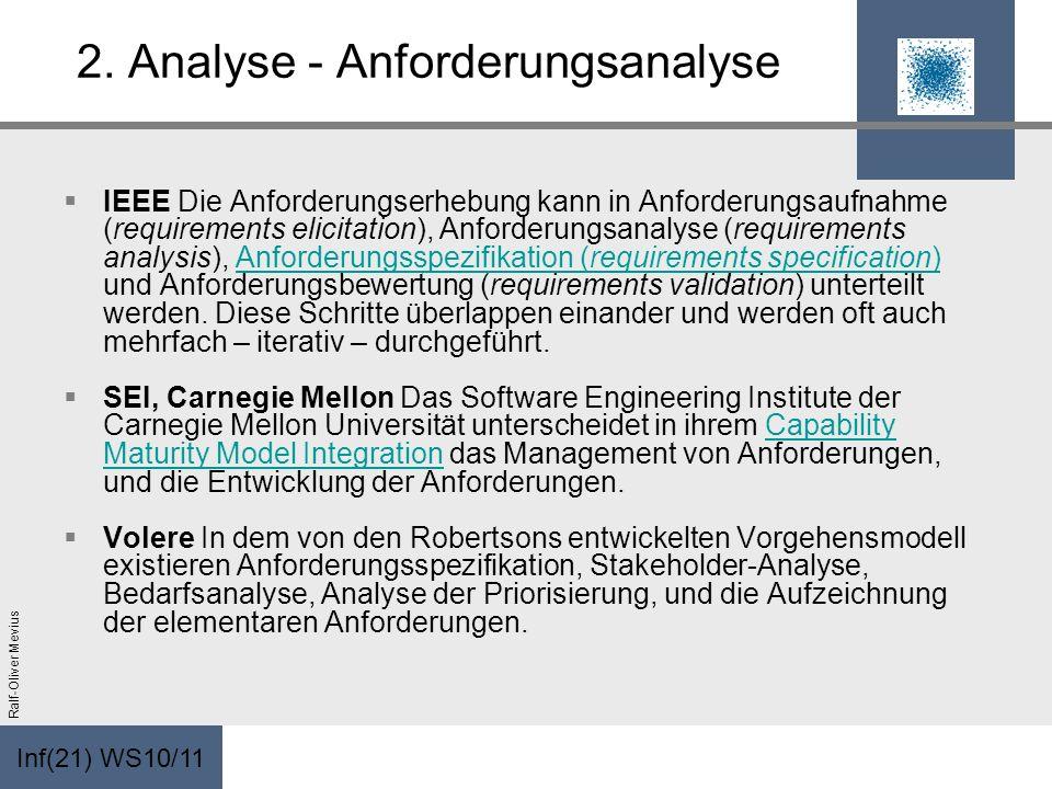 Inf(21) WS10/11 Ralf-Oliver Mevius 2. Analyse - Anforderungsanalyse IEEE Die Anforderungserhebung kann in Anforderungsaufnahme (requirements elicitati