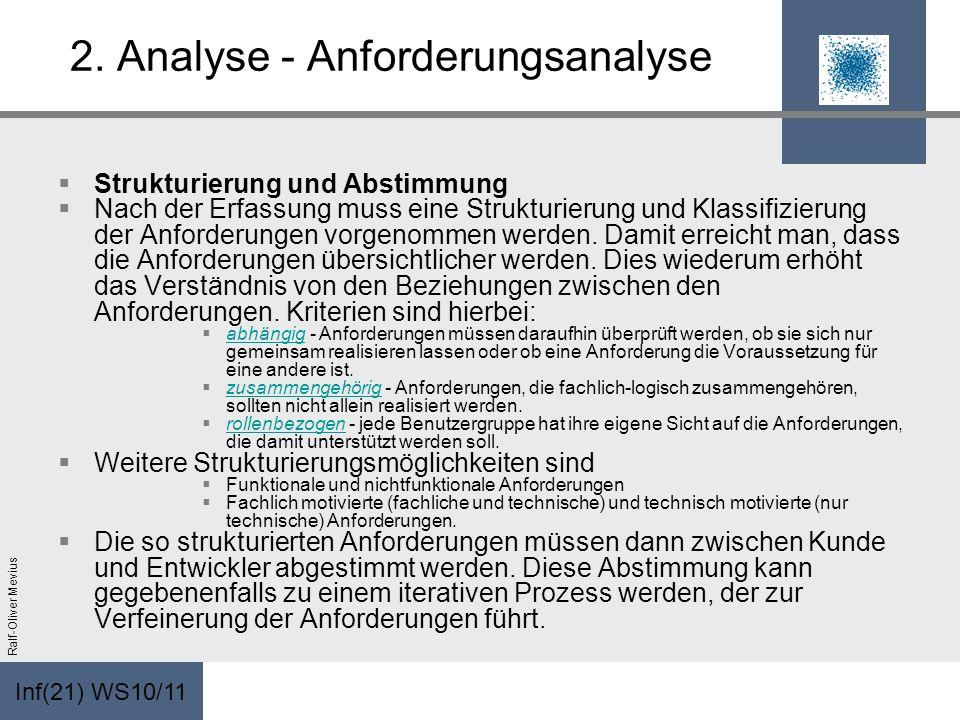 Inf(21) WS10/11 Ralf-Oliver Mevius 2. Analyse - Anforderungsanalyse Strukturierung und Abstimmung Nach der Erfassung muss eine Strukturierung und Klas