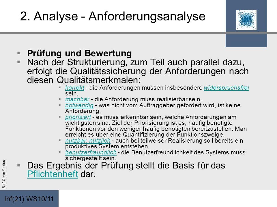 Inf(21) WS10/11 Ralf-Oliver Mevius 2. Analyse - Anforderungsanalyse Prüfung und Bewertung Nach der Strukturierung, zum Teil auch parallel dazu, erfolg