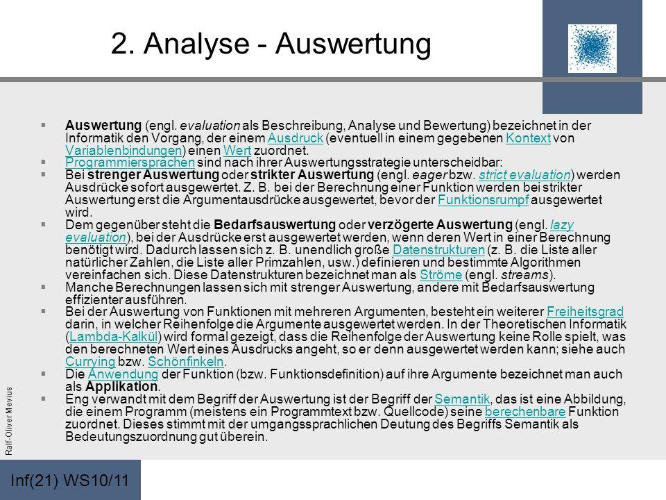 Inf(21) WS10/11 Ralf-Oliver Mevius 2. Analyse - Auswertung Auswertung (engl. evaluation als Beschreibung, Analyse und Bewertung) bezeichnet in der Inf
