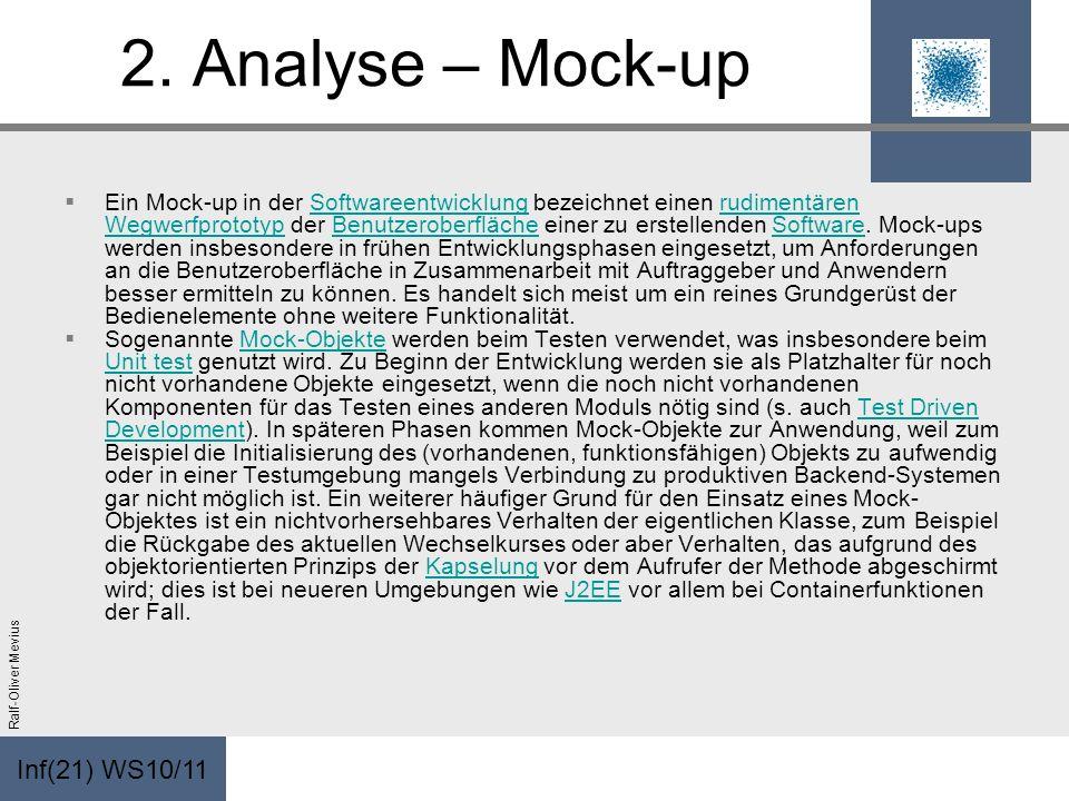 Inf(21) WS10/11 Ralf-Oliver Mevius 2. Analyse – Mock-up Ein Mock-up in der Softwareentwicklung bezeichnet einen rudimentären Wegwerfprototyp der Benut